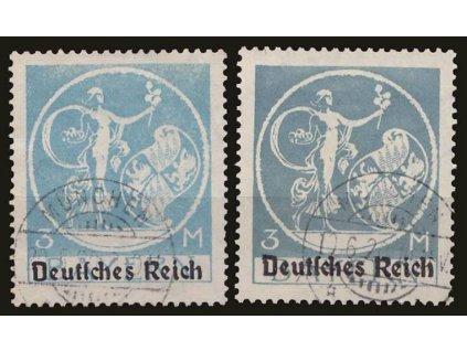 1920, 3M modrá,  2 ks - odstíny, MiNr.134I, razítkované