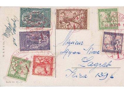 1920, DR Zagreb, pohlednice vyfr. pestrou frank. známek