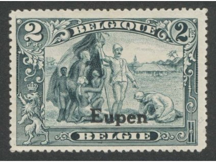1920, Eupen, 2Fr modrošedá, MiNr.12, * po nálepce