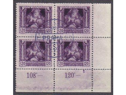 120h fialová, Řz., roh. 4blok s DČ 8, nátisk, Nr.32B, **/*
