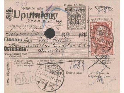 1920, DR Ujvidek, větší díl průvodky, pestrá frankatura
