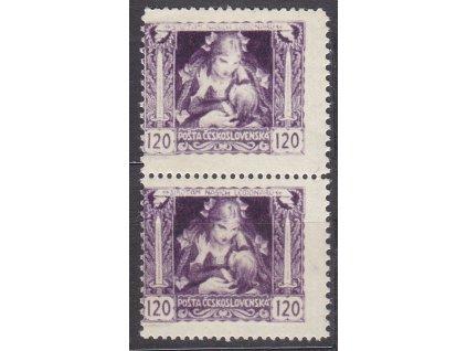 120h fialová, svislá 2páska s posunem perf. do obrazu zn., Nr.32B, **