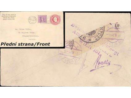USA, 1921, zasláno do Prahy v Rakousku,