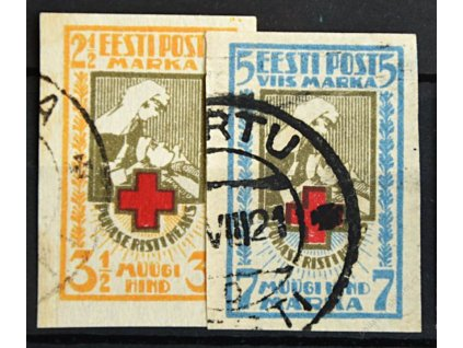 Eesti, 1921, 2 1/2-5M nezoubkovaná série, razítkované