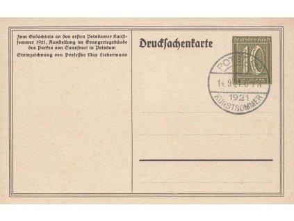 1921, privátní celinová pohlednice Potsdam, Erster Potsdamer Kunstsommer