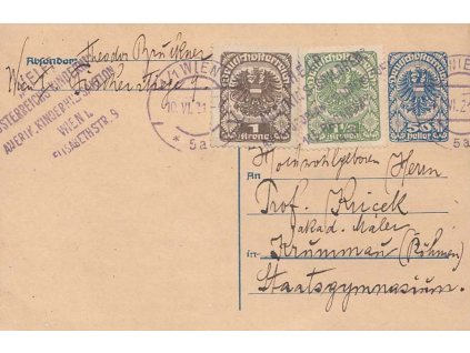 1921, Wien, Help! Österreichs kinderin, dopisnice zasl. do ČSR