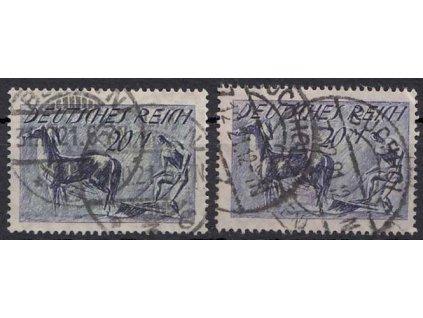 1921, 20M Oráč, 2 ks - odstíny, MiNr.176a,176b, razítkované, dv