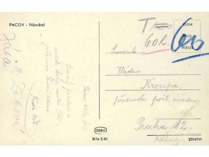 22.6.1953, Pacov, pohlednice, stopy pošt. provozu
