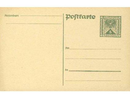 1922, dopisnice 5kr, neprošlé