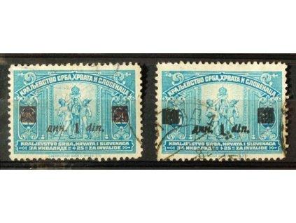 1922, 1Din/25Pa modrá s hnědofialovým přetiskem, MiNr.164a,b, razítko
