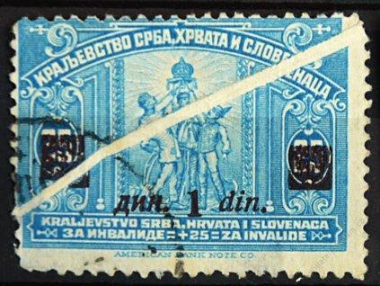 1922, 1Din/25Pa modrá, šikmá složka, razítkované