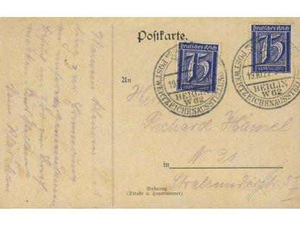 1922, Berlin, Poštovní výstava, propagační pohlednice