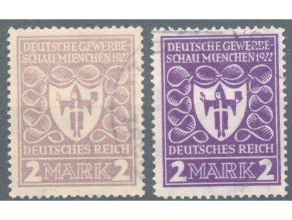 1922, 2M  fialová, 2 kusy - odstíny, razítkované