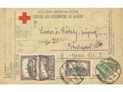 1922, DR Tolna, lístek ČK vyfr. pestrá frankatura