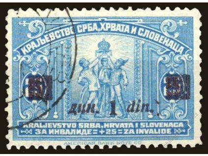1922, 1Din/25Pa modrá, tmavěhnědorůžový přetisk