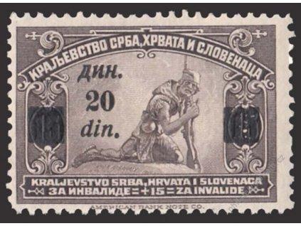 1922, 20Din/15Pa hnědá, MiNr.167, těžší *