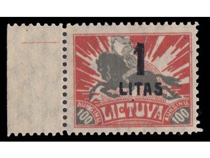 Lietuva, 1922, 1L/100A šedá/červená, MiNr.175, **