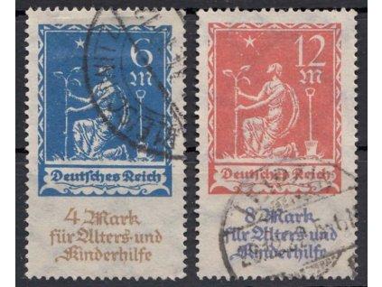 1922, 6-12M série Kinderhilfe, MiNr.233-34, razítkované