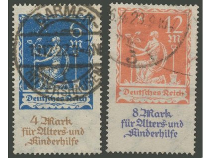 1922, 6-12M Kinderhilfe, MiNr.233-34, razítkované