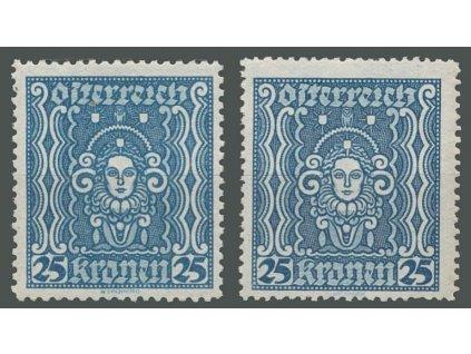 1922, 25Kr Frauenbild, 2 kusy, různá zoubkování, **