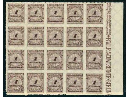 1923, 1Mrd.Mk. kraj. 20blok, **