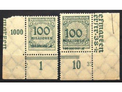1923, 100Mio M šedá, 2 dolní roh. kusy, * po nálepce