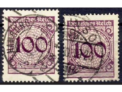 1923, 100Pf fialové, razítkované, posun hřebene