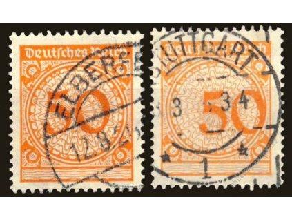 1923, 50Pf MiNr.342, razítkované, posun číslice 50