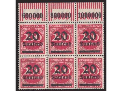 1923, 20Tsd/200M červená, 6blok, počítadla, MiNr.282, **