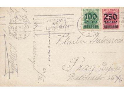 1923, DR München, Benutze die Luftpost, pohlednice zasl. do Prahy