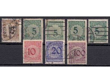 1923, 3-100Pf, posuny číslic, různá jakost, razítkované