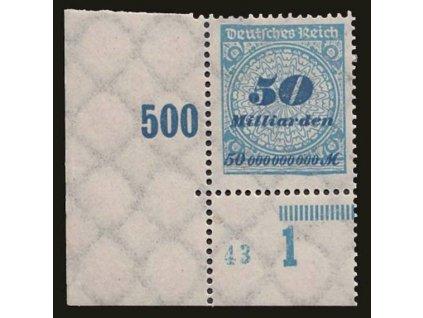 1923, 50Mrd M modrá, roh. kus, DZ, MiNr.330A, * po nálepce