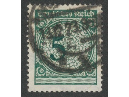 1923, 5Pf zelená, posun číslice 5, razítkované