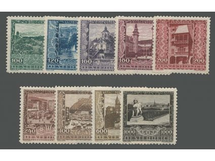 1923, 100-1000Kr série Města, MiNr.433-41, **