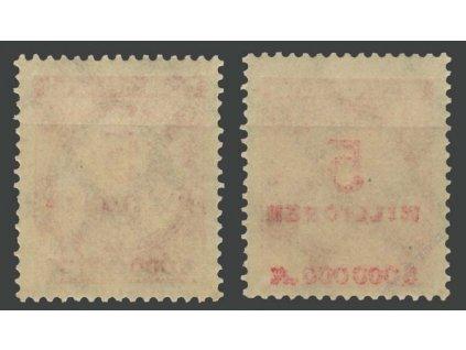 1923, 5Mio M červená, částečný obtisk, MiNr.317A, **