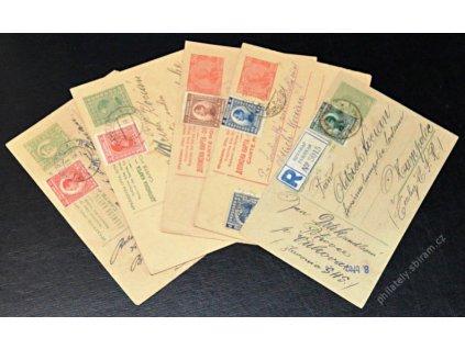1924, 7 kusů dopisnic zasl. v letech 1924-27