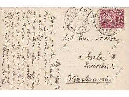 Latvija, 1924, DR Majori, pohlednice zaslaná ČSR