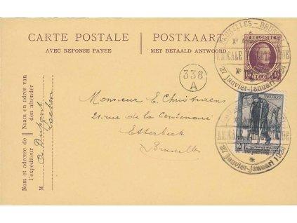 1924, Brussel, Amicale Philatelique, dvojitá dopisnice, prošlé