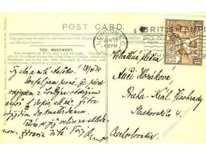 1925, DR London, pohlednice, nalomený růžek