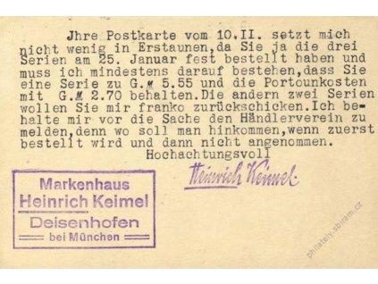 1925, DR Deisenhofen, firemní karta zasl. do ČSR