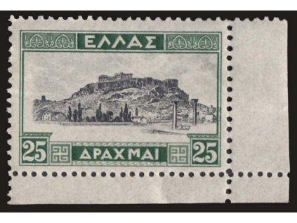1927, 25Dr Akropolis, Mi.150Euro, MiNr.317II, ** , lehké lomy a ohyby