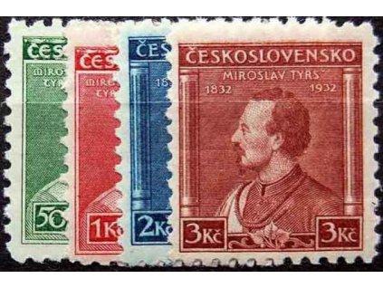 1932, 50h-3Kč série Tyrš, Nr.268-71, * po nálepce