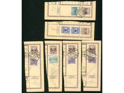 1928/33, 6 ks útržků celinových formulářů, hledané