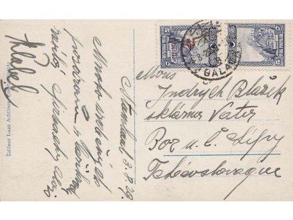 1929, DR Galata, pohlednice zasl. do ČSR