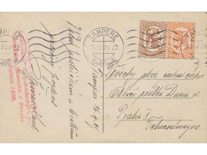 1929, DR Tampere, pohlednice vyfr. zn. 20P a 1M Znak