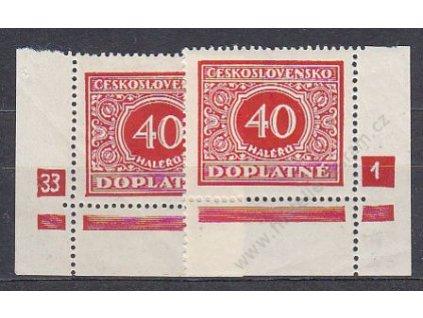 40h červená, L+P roh. kusy s DČ 33-1, Nr.DL59 **/*