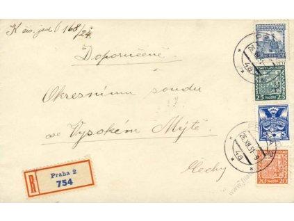 1931, DR Praha, R-dopis, zasláno do Vysokého Mýta