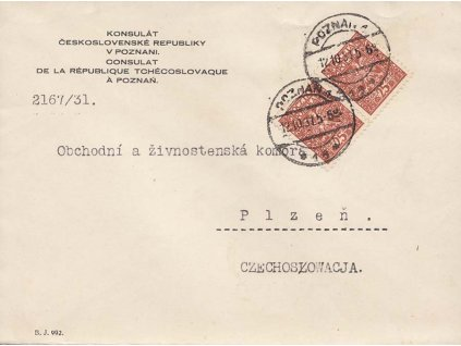 1931, DR Poznaň, dopis zasl. z čs. konzuátu do ČSR