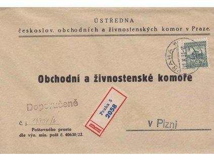 1931, DR Praha, R-obchodní dopis zasl. do Plzně, hledané