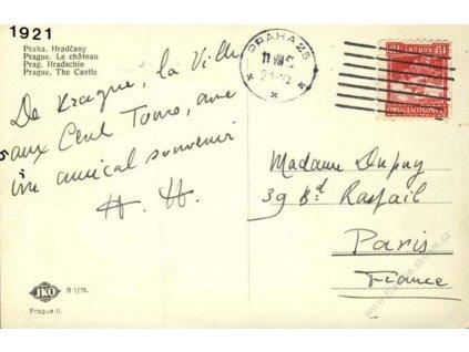 1932, DR Praha, pohlednice zaslaná do Paříže